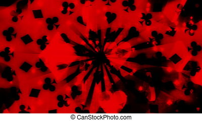Cards gambling black and red looping background - Animated...