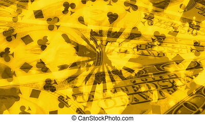 Cards gambling gold looping background - Animated background...