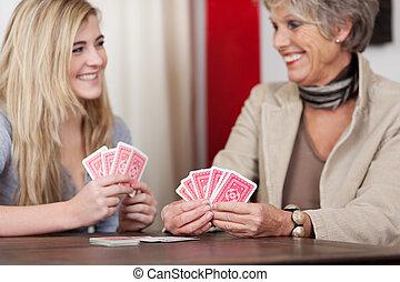 cards, granddaughter, spille, bedstemor