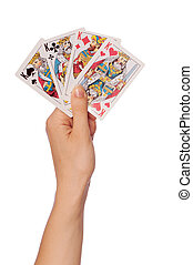 cards in casino - The girl keeps in a hand cards in casino...