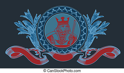 Cards King Sign With Banner. Vector Illustration.