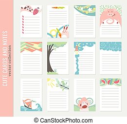 Cards notes. Kids notebook page vector template. Stickers, labels, tags paper sheet illustration. Set of planners and to do lists with simple animal illustrations