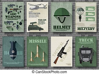 Cards of military equipment cards. Army template of flyear,...