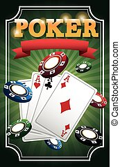 Cards of Poker and chips design