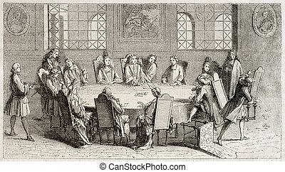 Cards players - Old illustration of cards players in the...
