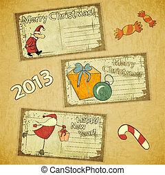 cards, sæt, retro, jul