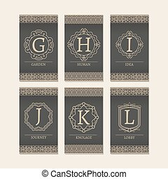 Cards set with monogram letters G-L