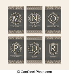 Cards set with monogram letters M-R