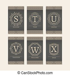 Cards set with monogram letters S-X