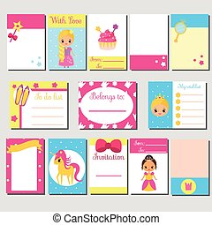 Cards, sticky notes, stickers, labels, tags, with cute princess characters. Template for kids scrapbook, invitations. Stationery for girls.