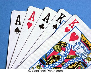 Cards - Playing cards on a blue background.