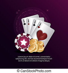 cards suits chips and golden coins casino poker