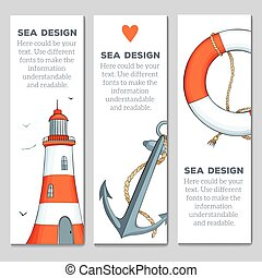 Cards templates with nautical elements.
