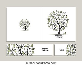 Cards with business tree concept for your design