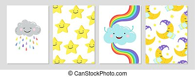 Cards with clouds, rainbow, moon