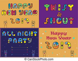Cards with festive and party texts. Happy New Year 2017....