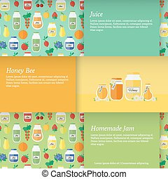 Cards with jars of honey, jam - Set of horizontal banners...