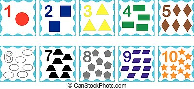 Cards with numbers from 1 to 10 with geometric shapes, set. Education for kids, math. Vector illustration