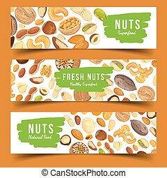 Cards with nuts food, pecan and nutmeg, hazel - Horizontal...