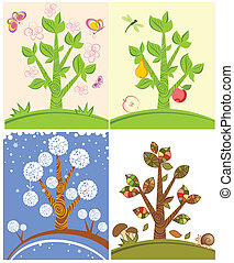 Cards with seasonal trees