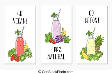 Cards with the image of bottles smoothies and fruits, vegetables. Detox, healthy eating.