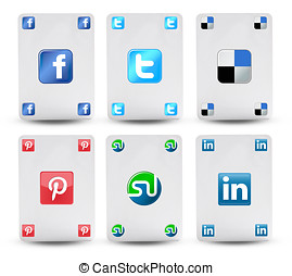 Cards with the symbol of social networks like facebook,...