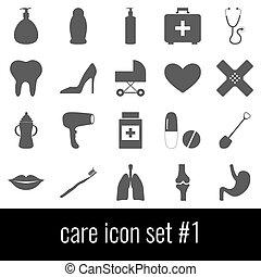 care., アイコン, セット, 1., 灰色, アイコン, 白, バックグラウンド。
