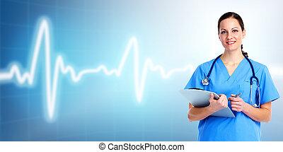 care., 의사, 건강, 내과의, woman.