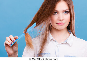 Girl with comb.