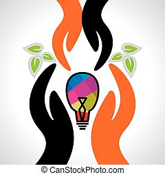 care concept hand with bulb