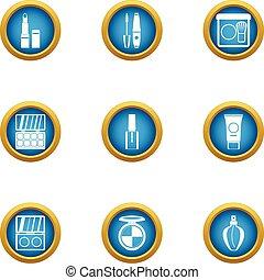 Care female icons set, flat style