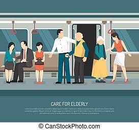Care For Elderly Illustration - Care for elderly scene in...