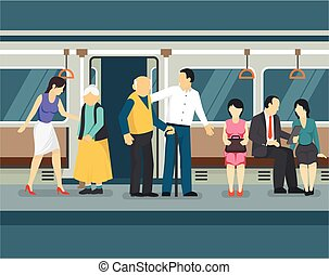 Care for elderly in subway transport with young man and woman helping old passengers