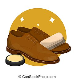 Care for leather shoes. Clean footwear polishing - Care for...