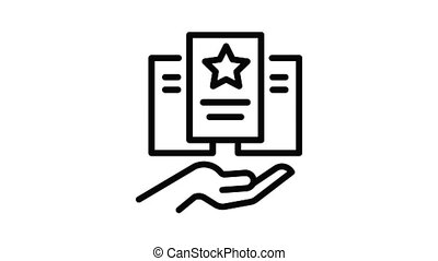 Care hand paper icon animation