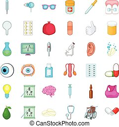 Care icons set, cartoon style