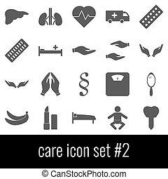 care., ikon, sätta, 2., grå, ikonen, vita, bakgrund.