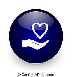 Care love blue glossy ball web icon on white background. Round 3d render button.