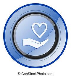 Care love blue glossy web icon