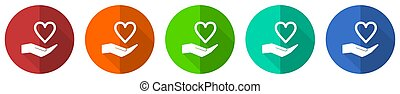 Care love icon set, red, blue, green and orange flat design web buttons isolated on white background, vector illustration