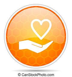 Care love web icon. Round orange glossy internet button for webdesign.