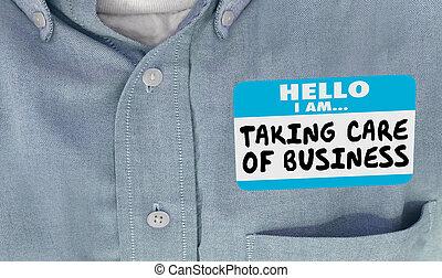 care, naam, zakelijk, boeiend, illustratie, label, 3d, hallo, sticker, hemd