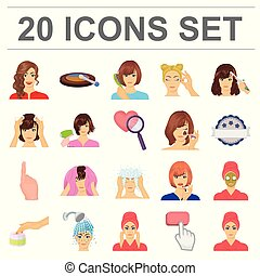 Care of hair and face cartoon icons in set collection for design. Perfumes and makeup vector symbol stock web illustration.