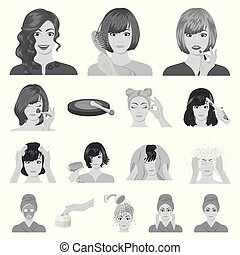 Care of hair and face monochrome icons in set collection for design. Perfumes and makeup vector symbol stock web illustration.