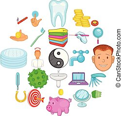 Care of teeth icons set, cartoon style