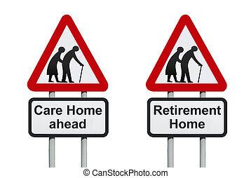 care, thuis, waarschuwend, roadsign