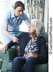 Care Worker Mistreating Senior Woman