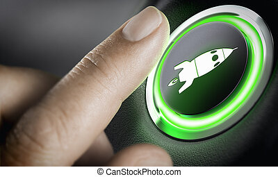 Career Accelerator, Boost Button - Man finger pressing an...