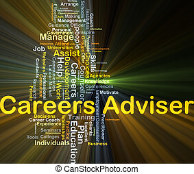 Career adviser background concept glowing