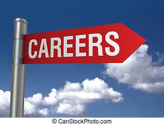 career ahead road sign